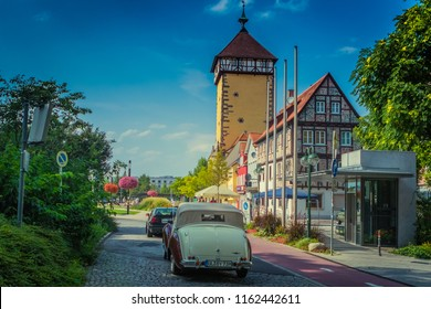 Reutlingen, Germany - August 19, 2018: 1949 Lagonda Aston Martin 2.6 Litre Drophead coupé Tickford oldtimer car at the Reutlinger Oldtimertag event in Reutlingen.