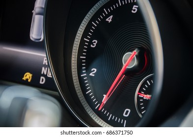 Rev counter of a car. Modern tachometer