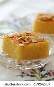Revani/sweet semolina pastry with syrup, traditional turkish, greek dessert, sponge cake, revane, namoora, basbousa, ramadan food, feast treat