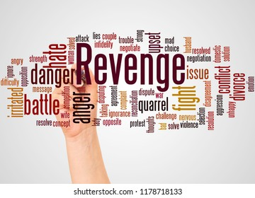 Revenge word cloud and hand with marker concept on white background.