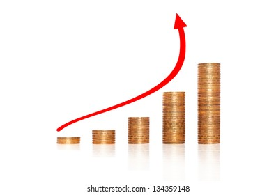 revenue growth in the form of a graph of gold coins