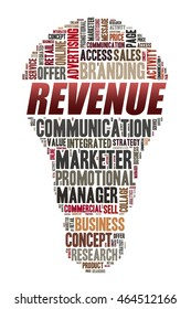 REVENUE word on word cloud concept with bulb shape