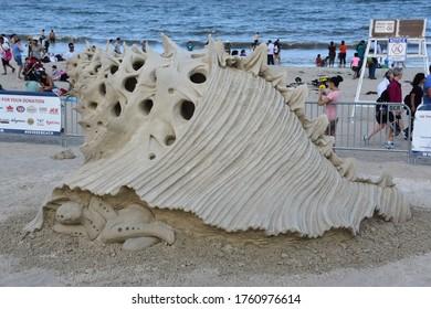 REVERE BEACH, MA - JUL 28: Sand sculptures at Revere Beach 2019 International Sand Sculpting Festival in Massachusetts, as seen on July 28, 2019.