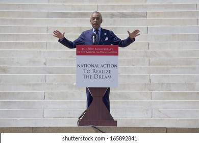 Reverend Al Sharpton, MSNBC TV host speaks at the 50th Anniversary of the march on Washington and Martin Lucs Natther King's Speech, August 24, 2013, Lincoln Memorial, Washington, D.C.