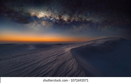 Reverse Arch Milky Way on sand dunes in Cervantes, Australia