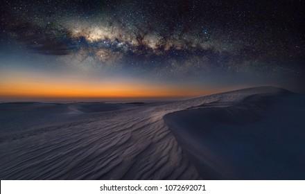 Reverse Arch Milky Way on sand dunes in Cervantes, Australia