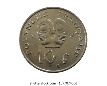 Reverse of French Polynesia coin 10 francs 1975 with inscription meaning FRENCH POLYNESIA. Type KM# 8.