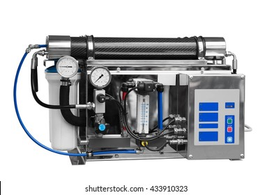 Reverse industrial clean system water. Isolated over white background