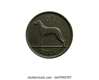 Reverse of Irish Free state coin 6 pence 1928 with inscription meaning SIX PENCE.