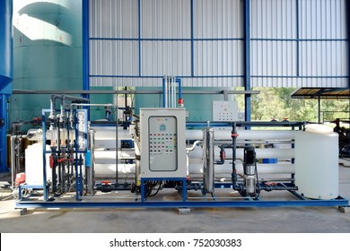 Reverse osmosis membrane system of water plant make up drinking water or soft water for  industrial cooling system.Reverse osmosis purification plant for water drinking   system or RO