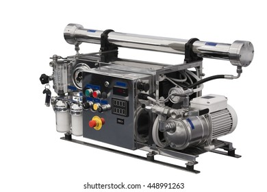 Reverse osmosis system for filtered water. Isolated over white background