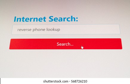 Reverse phone lookup search performed in a web browser