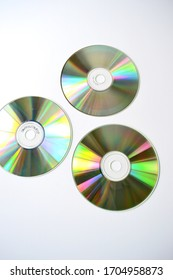 The reverse side of the CD, DVD on a white background