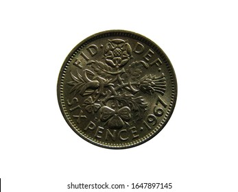 Reverse of United Kingdom coin 6 pence 1967.