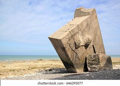 Reversed bunker of Sainte-Marguerite-sur-mer (Baie de Somme, France). Last world war.