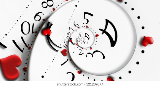 Reversed infinity time with heart shapes. Infinity love concept.