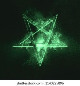Reversed Pentagram symbol. Green symbol