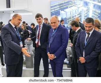 Review of expositions by business people. St. Petersburg, Russia - 3 October, 2017. Participants and visitors of the annual St. Petersburg Gas Forum.