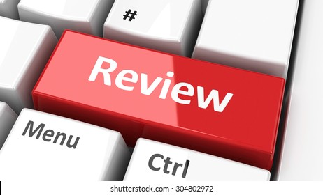 Review key on the computer keyboard, three-dimensional rendering
