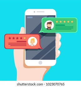 Review rating bubble speeches on mobile phone illustration. Flat style smartphone reviews stars with good and bad rate and text, concept of testimonials messages, notifications and feedback