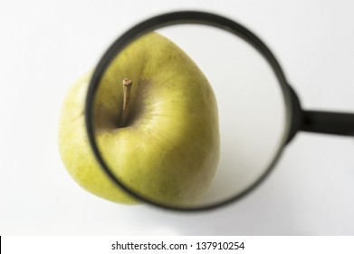 reviewing an apple with a magnifying glass