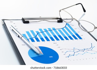 Reviewing business report. Looking at growth chart. Document, pen and glasses on white background.