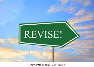 REVISE! road sign green