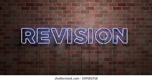 REVISION - fluorescent Neon tube Sign on brickwork - Front view - 3D rendered royalty free stock picture. Can be used for online banner ads and direct mailers.
