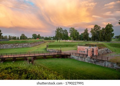 Revitalised cultural-historical landscape of Daugavpils Fortress. Rampart and restored wooden bridge and guard house (built in 1827), were part of Saint Petersburg - Warsaw route in 19th century.