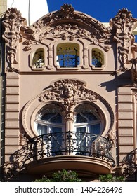 Revival house details in the city of Valencia. Spain.