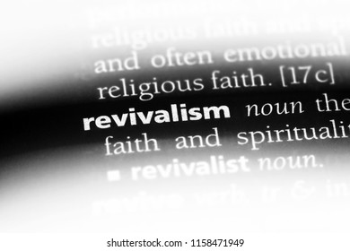revivalism word in a dictionary. revivalism concept.