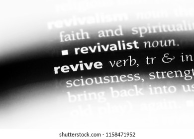 revive word in a dictionary. revive concept.