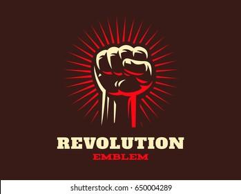 Revolution hand up emblem design illustration on dark background