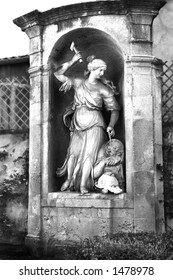 The revolutionary architectural monument: The mausoleum of Joseph Sec, Aix-en-Provence, France.  Black and white.