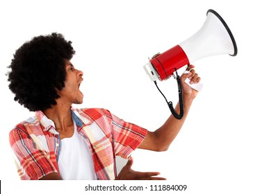 Revolutionary black man screaming with a megaphone - isolated