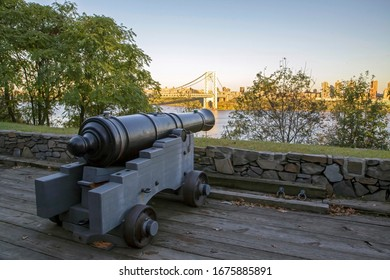 Revolutionary war cannon in Fort Lee Historic park New Jersey.
