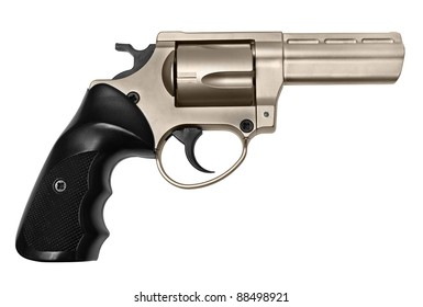 Revolver of bronze color on a white background.