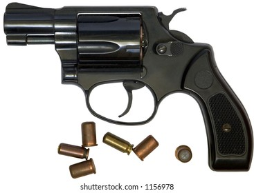 Revolver with bullets, isolated