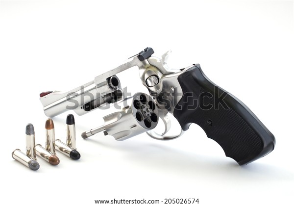 Revolver Chrome Gun 9 Mm Bullets Stock Photo (Edit Now) 205026574