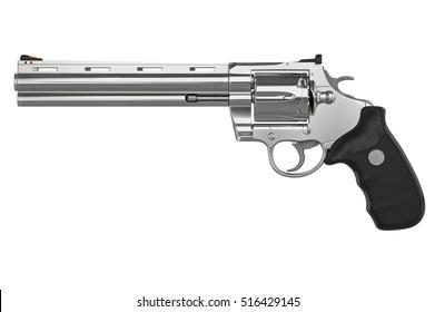 Revolver chrome pistol, side view. 3D graphic