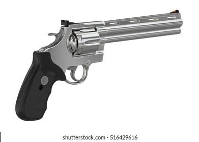 Revolver chrome weapon plastic handle. 3D graphic