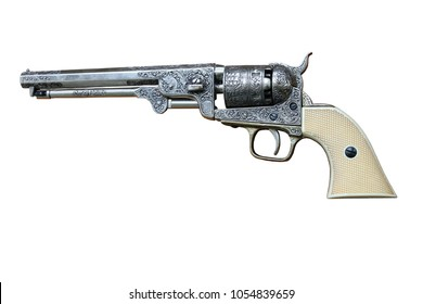 revolver colt navy 1851 isolated from background