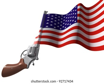 Revolver with the flag. 3d image with clipping path.