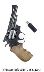 A revolver and a flash drive on a white background.