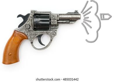 Revolver gun closeup