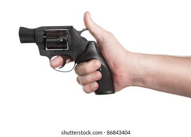 Revolver Gun in hand isolated on white background