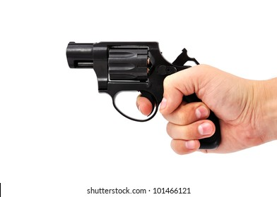 revolver in his hand on a white background