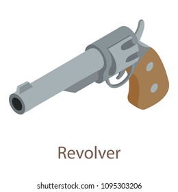 Revolver icon. Isometric illustration of revolver icon for web