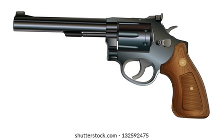 Revolver is an illustration of a revolver style handgun. Black with wood grip.