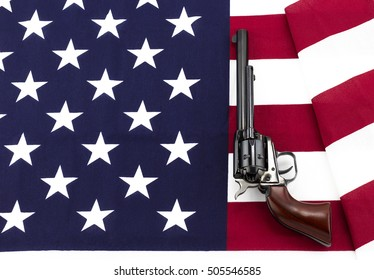 Revolver laying on an American flag